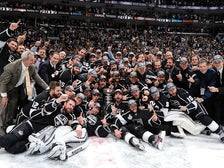 The L.A. Kings celebrate their first Stanley Cup