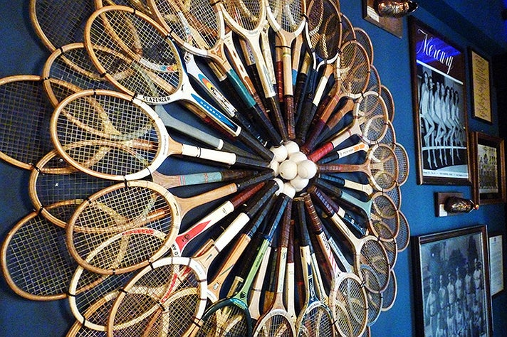Tennis racquet display at the Blue Room