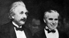 "Albert Einstein and Charlie Chaplin at the ""City Lights"" premiere"