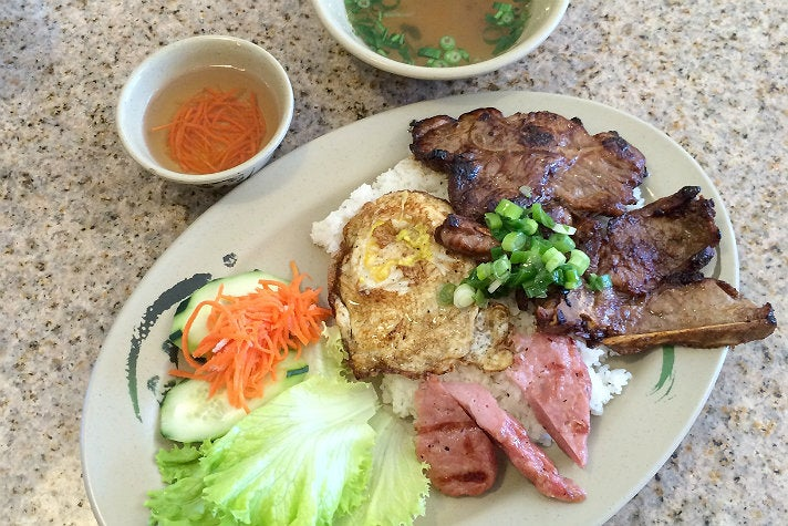 Broken rice with pork chop, meatball and fried egg at Gigo's in Chinatown